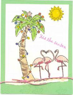 April Christmas Card Challenge using Stampin Up Sunny Season's Greetings