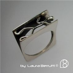 Sterling Silver Ring with Stick Man Pushing by LauraBerrutti, $115.00