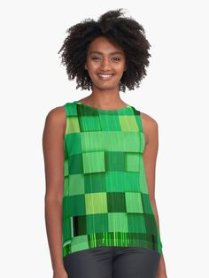 A wonderful collection of green and blue squares that are contrasted with purple bars, makes this plaid styled pattern an attractive and stylish design for your sleeveless top. Hipster Outfits, Hipster Fashion, Hipster Clothing, Green Blouse, Green Dress, Retro Shirts, Blouses For Women, Women's Blouses