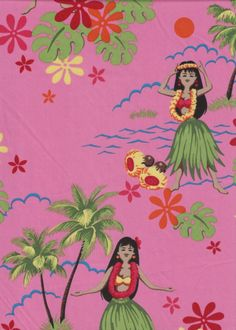 60pa 'a 'aina Tropical Hawaiian Vintage Hula Girls on a cotton Hawaiian apparel fabric.
