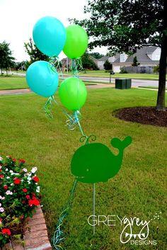 "Photo 1 of Whale, Ocean, Under the Sea / Birthday ""Aiden's Green Whale Birthday Party"" Whale Birthday Parties, Baby Boy 1st Birthday, Birthday Ideas, Mermaid Birthday, Ocean Baby Showers, Baby Shower Fun, Baby Party, Party Ideas, Party Themes"