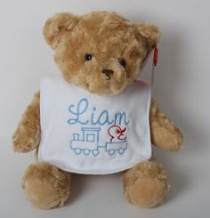 Baby's First Bear & Personalised Bib Personalised Teddy Bears, Dolls, Baby, Animals, Personalized Teddy Bears, Animales, Animaux, Doll, Newborns
