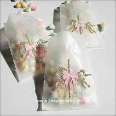 Carousel Party Favors Glassine Bags Pink & by JaclynPetersDesigns