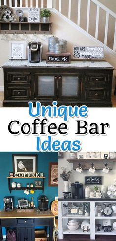 Great DIY coffee bar ideas and coffee station designs to make at home. Great gift ideas for coffee lovers too. coffee stations beverage center {Coffee Corner Ideas} – Coffee Corner PICTURES & Unique Coffee Gifts for Coffee Lovers Coffee Bar Station, Coffee Station Kitchen, Coffee Bars In Kitchen, Coffee Bar Home, Home Coffee Stations, Coffe Bar, Keurig Station, Men Coffee, Kitchen Cart