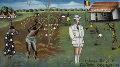 Colonie Belge is a sub-genre that developed within the Lumumbashi art movement of the 70s. Paintings typically show Congolese people suffering graphic violence at the hands of Congolese prison officers or police while the white Belgian officer casually looks on. Colonie Belge II, Culture Obligatoire. Tshibumba Kanda-Matulu. 40 x 68cm, Acrylic on canvas.