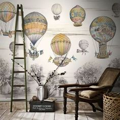 Whimsical hot air balloon vintage style wallpaper. Make a bold statement and create that wow feature with an amazing botanical wallpaper. From soft and romantic to bold and tropical.� AW Design Studio - Dallas Interior Designer