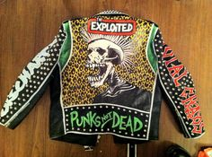 Vintage studded Punk Leather Jacket Exploited GBH Discharge Broken Bones Size M Painted Leather Jacket, Punk Jackets, Biker Jackets, Heavy Metal Fashion, Battle Jacket, Painting Leather, Leather Men, Leather Jackets, Custom Leather