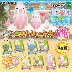 [Gacha Gacha Complete set] Parakeet Matryoshka New Color set of 8 - Lutino Cockatiel Cockatiel Care, Cool Fidget Toys, Bird Party, Graph Design, Japanese Toys, Japanese Poster, Art Drawings Sketches Simple, Budgies, Gift List