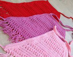 Red Toddler Crochet Crop Top/ Open back crochet top/ Fringe