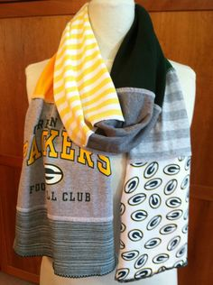 UPCYCLED t-shirt scarf ... GREEN BAY Packers ... dark green, gold, white, grey ... football Packers Gear, Packers Baby, Go Packers, Packers Football, Green Bay Packers, Football Memes, Scarf Shirt, Shirt Quilt, Diy Clothing