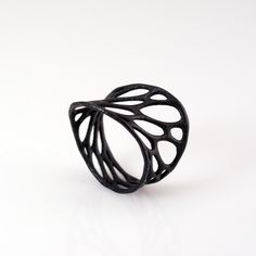 1-layer twist ring - black 3d-printed nylon plastic ring.