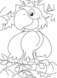 A cute happy parrot coloring page | Download Free A cute happy parrot coloring page for kids | Best Coloring Pages