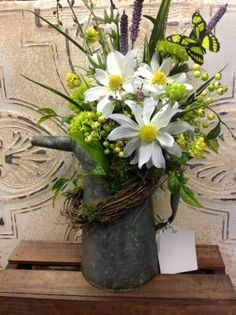 Beautiful Silk Flower Watering Can Arrangement by SeasonsFlowers, $79.99