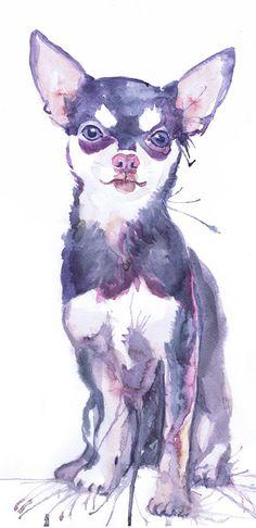 Chihuahua Art ,dog Wall art, Watercolor Painting , dog art, chihuahua gifts, dog…
