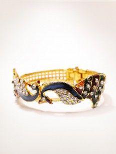 Buy Enamel Golden Peacock Kada with White stone online.