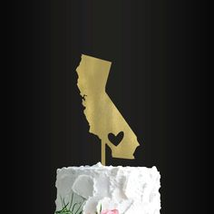 Wedding Cake Topper California Heart by TheBridalBuddy on Etsy Best Wedding Venues, Wedding Themes, Wedding Decorations, Wedding Ideas, Wedding 2017, Wedding Details, Birthday Cake Toppers, Wedding Cake Toppers, Wedding Cakes