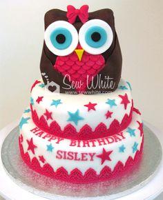 Sew White owl cake tutorial