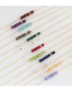 Birthstone Layering Necklace/ Simple by LEILAjewelryshop on Etsy