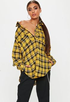 Missguided has the fiercest collection of affordable, coveted tops in the fashion universe. From crop tops & camis to shirts & bodysuits - just take a look! Checked Shirt Outfit, Plaid Shirt Outfits, Clothing For Tall Women, Clothes For Women, Nylons, Yellow Plaid Shirt, Cami Crop Top, Trends, Check Shirt