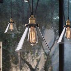"8.7"" Industrial Retro Glass Shade Pendant Light Vintage Socket Braided Wire Lamp in Home, Furniture & DIY, Lighting, Ceiling Lights & Chandeliers | eBay"