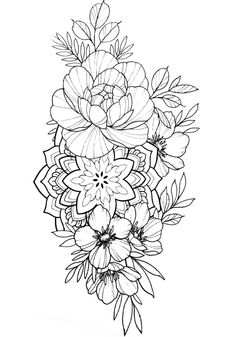 Floral Mandala Tattoo, Mandala Tattoo Design, Flower Mandala, Flower Art, Tattoo Designs, Tattoo Femeninos, City Flowers, Creepy Drawings, Red Tattoos
