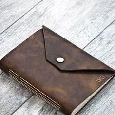 Rustic Brown Personalized Leather Journal with Initials / Name / Date (snap closure) - 5x7 / 1-3 characters
