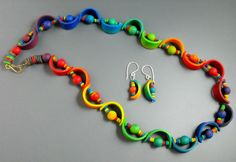 """Polymer Clay Jewelry Set, months ago I made this necklace in rainbow colors, now I """"needed"""" matching earrings...."""