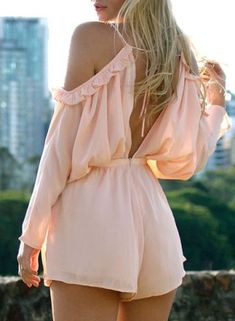Endearing Spaghetti Strap Backless Solid Color Shoulder Cut Out Ruffles Romper For Women Hope Fashion, Timeless Fashion, Fashion Outfits, Womens Fashion, Cruise Attire, College Outfits, College Clothing, Ruffle Romper, Crop Top Outfits