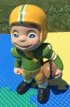 "VINTAGE 70s GREEN BAY PACKERS 11.5"" FOOTBALL PLAYER CERAMIC FIGURINE KIDS ROOM #GreenBayPackers"