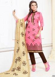 Daily Wear Pink Cotton Resham Work Salwar Kameez