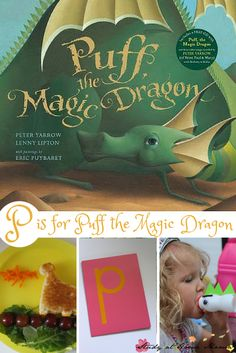 "P is for Puff the Magic Dragon - these fun activities are great for a Puff the Magic Dragon book study, or you can use the beloved childhood classic to learn the letter ""p"" sound for teaching pre-readers - part of a learning phonics series"