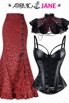 If you're not willing to risk the unusual, you'll have to settle for the ordinary. Don't be that person..shop these stunning pieces here!  Visit Atomic Jane Clothing and search for the following items:  * Atomic Red Jacquard Ruffled Fishtail Skirt  * Atomic Punk Black Floral Lace Bustier Corset  * Atomic Black Vampire Leather Lace Shrug