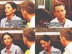 """I love this episode because there's some foreshadowing with Monica and chandler. There's this scene, and then later chandler makes a joke about how Rachel's hat is a space ship and he says """"I can't have children!"""""""