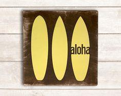 Aloha Wood Sign; Hawaii Wood Sign; Hawaii Wall Decor; Beach Wood Sign; Surfboard Sign; Aloha Surfboard Sign; Beach Sign; Hawaii Decor; Aloha