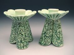 sandy pierantozzi click the link now for more info. Make Your Own Pottery, Pottery Gifts, Pottery Ideas, Ceramic Candle Holders, Let Your Light Shine, Elegant Flowers, Ceramic Design, Candlesticks, Candleholders