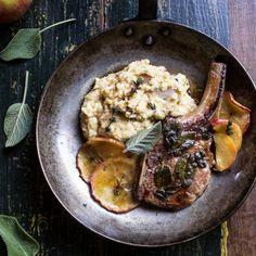 Cider Apple and Sage Roasted Pork Chops with Brown Butter Gorgonzola Polenta.