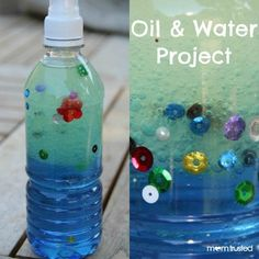"""Oil and Water Project. Wow...I did this the other night with my niece and we called it """"ocean in a bottle."""" Vegetable oil and water and food coloring. Cutest thing ever. She added little jewels and fish and was so proud of her ocean bottle! #ad"""