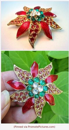 d5c96ac99ad Items similar to Poinsettia Flower Christmas Brooch, Guilloche Enamel,  Poured Glass, Rhinestones, Vintage on Etsy