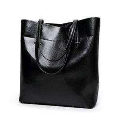 Fleeting Time Womens New Casual Simple Fashion Temperament Bucket Bag(Black)