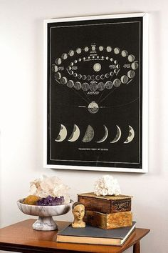 Antique Cosmos Print with Moon Phases and Views of Venus  In...