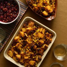 This corn bread stuffing is a stroke of genius. It's so easy, you'll be making it far more often than once a year for Thanksgiving! Shelley Wiseman, author of Just Tacos, knows a thing or two about corn—and not just in tortillas—and she decided to skip the process of drying the cubes of corn bread in the oven. That alone is a huge time-saver. To enliven the corn bread, she balances the flavor punch of chorizo with the sweetness of onions and corn kernels. When it comes time to bake it in a…