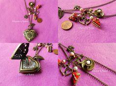 Poket Watch Necklaces with Fimo Pendants VIII by oOMetalbrideOo.deviantart.com