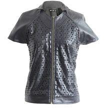 Jasi  Co JSDJ2300 Hollow Out PU Short Sleeve Jacket Stand Collar Coat Metal Zipper Casual Jacket UK American US Size(China (Mainland)) visit http://www.jasiandco.com/