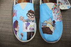 disney toms shoes | UP Original Custom Acrylic Painting for Toms Shoes on Wanelo