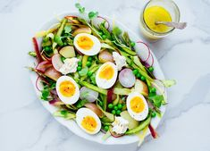This shaved asparagus salad is a fun way to have asparagus and it goes so well paired with spring veggies, a lemon vinaigrette, and perfect soft boiled eggs! Egg Recipes, Lunch Recipes, Salad Recipes, Healthy Recipes, Healthy Foods, Cubed Potatoes, Dairy Free Cheese, Organic Eggs, Asparagus Salad