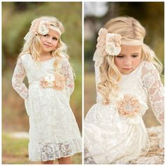Boho Lace Flower Girl Dresses For Summer Garden Weddings Knee Length Crew Neck Kids Formal Wears Girls Birthday Dresses Flower Girl Dresses Country, Rustic Flower Girls, Girls Lace Dress, Lace Flower Girls, Lace Flowers, Girls Dresses, Baby Dress, Lace Dresses, Dress Lace
