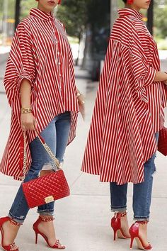 #OOTD #Summer #AdoreWe #LovelyWholesale - #LovelyWholesale Lovely Casual Asymmetrical Striped Red Blouse - AdoreWe.com #backtoschool