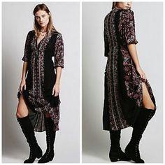 Free People Azalea Kaftan Maxi Dress Black XS Black combo. Worn one time - like new! Free People Dresses Maxi