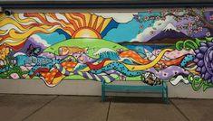 Caregiver shares work skills at school Murals Street Art, Graffiti Wall Art, Street Graffiti, Mural Wall Art, Mural Painting, Art Classroom Decor, Garden Mural, School Murals, Murals For Kids