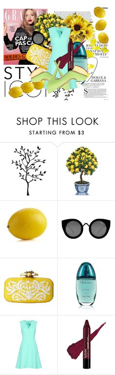 """""""In a world of lemons, i choose to be the Lemon's Queen..."""" by mariaannie ❤ liked on Polyvore featuring Crate and Barrel, Quay, Oscar de la Renta, Calvin Klein and McQ by Alexander McQueen"""